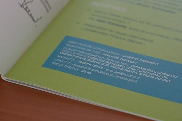 Détail de la mise en page de Biodiv'2050 - Page de sommaire